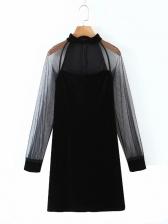 New Gauze Patchwork Black Long Sleeve Dress