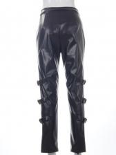 New Pu Solid High Waist Pants