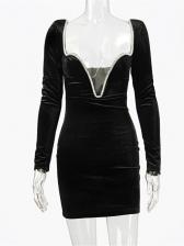Club Deep V Neck Black Mini Dress