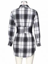 New Contrast Color Plaid Long Sleeve Shirt Dress