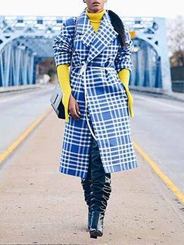 Fashion Plaid Print Coats For Women