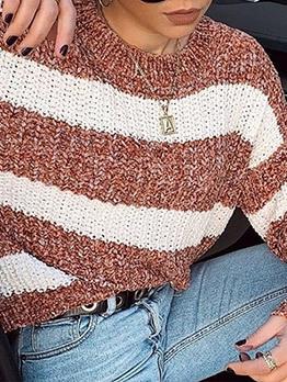 Color Block Striped Ladies Sweater
