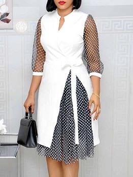 Polka Dots Gauze Patchwork Ladies Dress