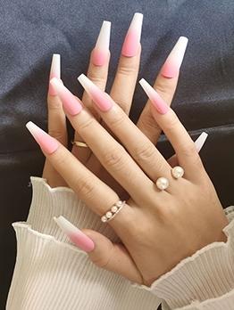 Matte Gradient Color Pink Long False Nail Patch