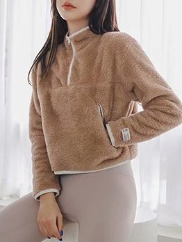 Loose Solid Half Zipper Sweatshirts For Women