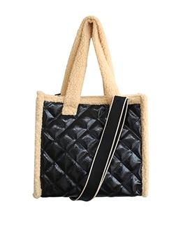 Winter Plush RhombusPlaid Tote Bags