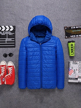 Casual Zipper Hooded Mens Puffer Jacket