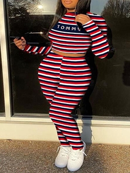 Letter Striped Long Sleeve Plus Size Two Piece Sets