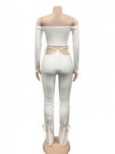 Solid Off Shoulder Tie Up Two Piece Pants Set