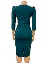 OL Style Gauze Patchwork Bodycon Dress