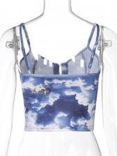 Fashion Printed Buckle Women Cami Top
