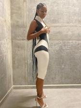 New Contrast Color Sleeveless Skinny Romper