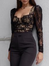Sexy Lace Black Ladies Blouse