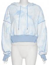 Tie Dye Patchwork Loose Pullover Hoodie