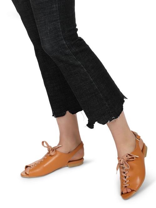 Peep-Toe Lace-Up Flat Womens Sandals