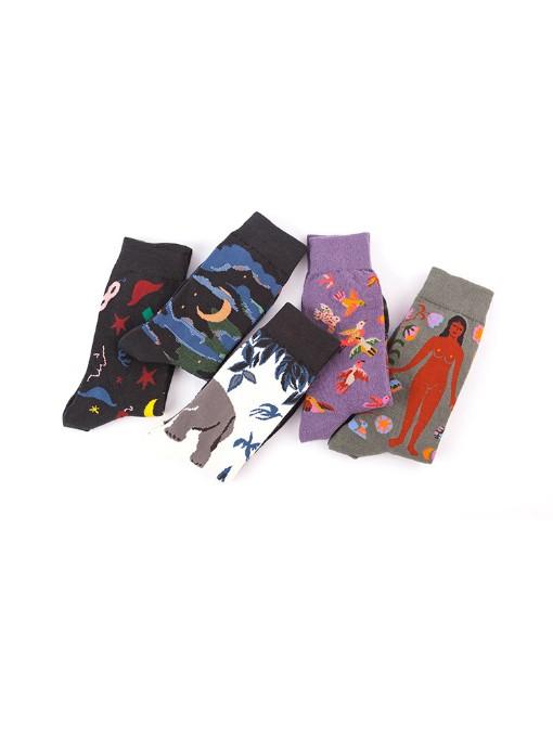 Trendy Contrast Color Vintage Mid-Calf Length Sock