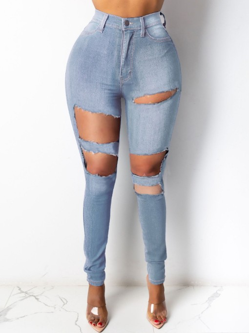 Fashion Hollow Out High Waist Jeans