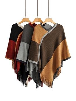 Contrast Color Cloak Loose Sweater Knitwear