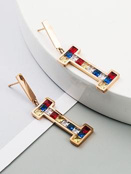 Letter Shape Colourful Zircon Earrings Women