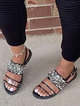 Open Round Toe Rivets Flat Ladies Sandal