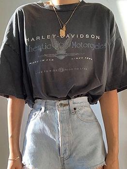 Leisure Letter Half Sleeve Round Neck T Shirt