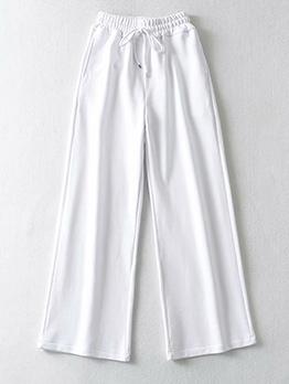 Loose Solid Drawstring Wide Leg Pants