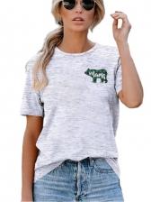 Bear Printed Short Sleeve T-shirts For Women