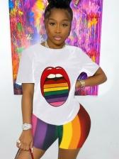 Lips Print Rainbow Color Two Piece Short Set