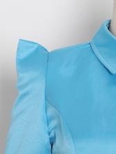 Boutique Irregular Hem Single Breasted Womens Blouse