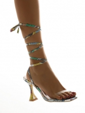 Chic Snakeskin Printed Lace-Up Summer Sandals