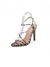Euro Leopard Printed Toe Ladies Heel Sandal