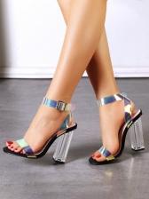 Laser Color Chunky Heel Ladies Sandal