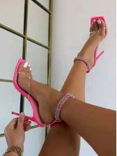 Stylish Square Toe Rhinestone Heel Sandal