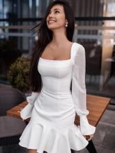 Square Neck Ruffled Gauze Patchwork Ladies Dress