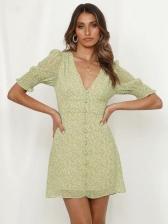 Ditsy Printed Single-Breasted Short Sleeve Dress