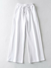 Loose Solid Drawstring Wide Leg Pants