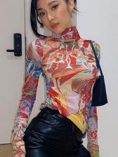 Colorful Print Mock Neck T Shirt