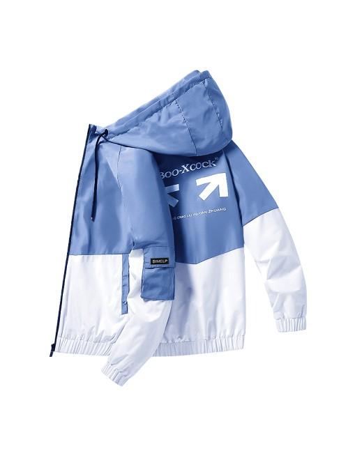 Contrast Color Hooded Collar Jacket For Men