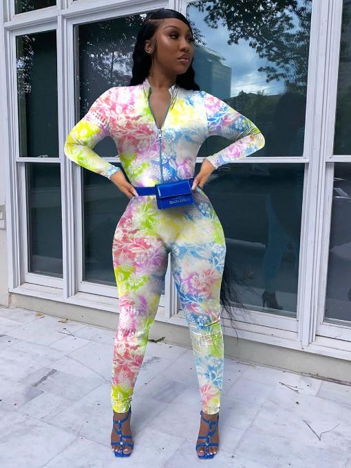Euro Colorful Printed Women Long Sleeve Jumpsuit
