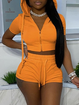Solid Hooded Short Sleeve Two Piece Short Set