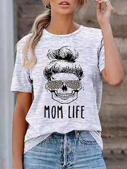 Round Neck Short Sleeve Printed T Shirts