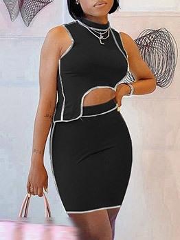 Summer Irregular Sleeveless Two Piece Skirt Set
