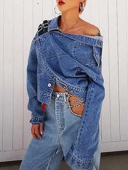 Trendy Single Breasted Asymmetric Denim Jacket