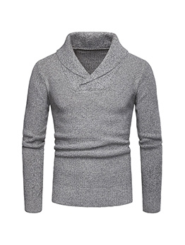 V Neck Long Sleeve Fitted Sweater For Men Causal