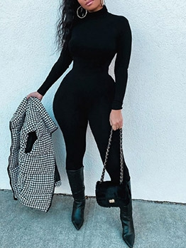 New Solid Fitness Long Sleeve Jumpsuit