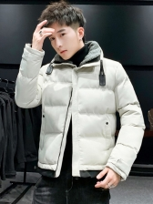 Stand Neck Long Sleeve Solid Puff Coat For Men