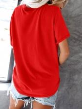 Cactus Print Crew Neck Short Sleeve T Shirt