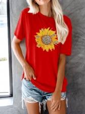 Leopard Sunflower Short Sleeve Round Neck T-shirt