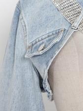 Chic Rhinestone Belt Asymmetric Denim Jacket