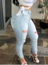 High Waist Holes Skinny Stretch Jeans